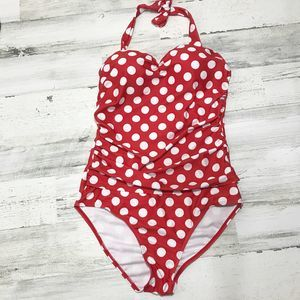 Red Polka Dot Halter One Piece with Side Ruching